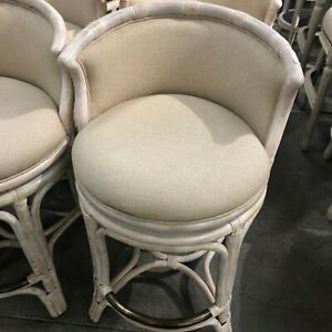 Astonishing Details About Frontgate Bali Woven Swivel Counter Bar Stool Seat Height White Washed Linen Ncnpc Chair Design For Home Ncnpcorg