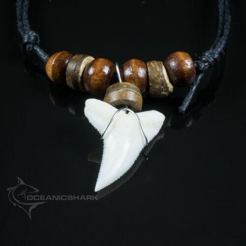 Blue shark tooth necklace wood beaded cord Australian souvenir c115