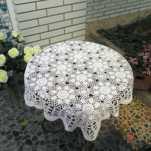 Vintage-Hand-Crochet-Lace-Doily-Table-Topper-White-Square-Table-Cloth-Cover-31-034