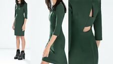 Zara Basic blogueros vestido s 34 36 Pencil vestido verde estuche vestido Bodycon cut out