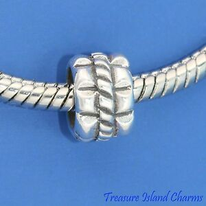 .925 Solid Sterling Silver ROPE SPACER EUROPEAN EURO Bead Charm