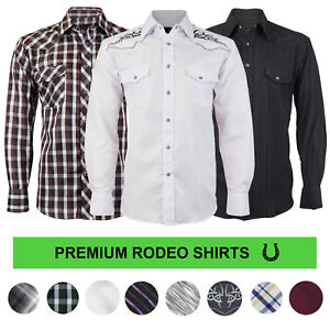 Lw-Hommes-Cowboy-western-Pearl-snap-bouton-manches-longues-Casual-RODEO-Dress-Shirt
