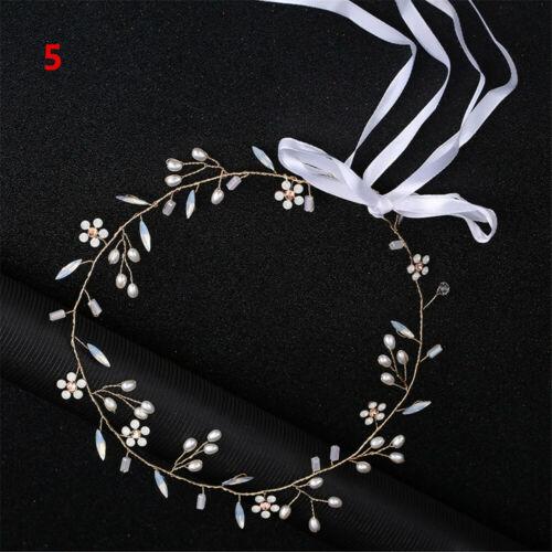 Bride Crystal Headbands Pearl Hair Vine Diamante Headpiece Rhinestone Headwear