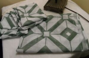 Details about NEW Duck River Kitchen Sheer Curtains w/ Valance White and  Sage Green 56x35