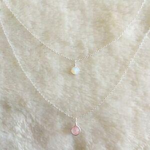 Dainty-Piedra-Lunar-amp-Cuarzo-Rosa-Colgante-Collar-de-plata-esterlina-pequena-joya-en-capas