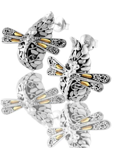Devata Sweet Dragonfly green Earth Argent Sterling 925 Boucles d/'oreilles or 18K DBN5652