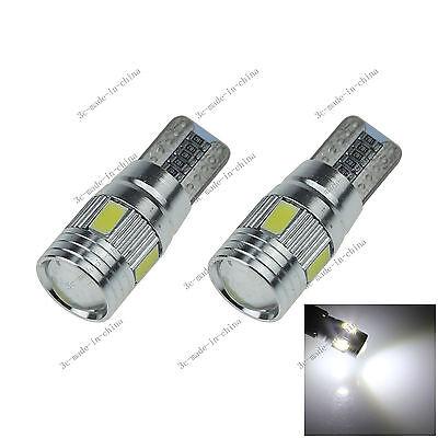 2X White 6 LED 5630 T10 W5W Lens Canbus Error Free Light Car Bulb Lamp 12V A130