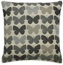 """2 X GREY CREAM BUTTERFLY LUXURIOUS THICK CHENILLE CUSHION COVERS 17"""" - 43CM"""