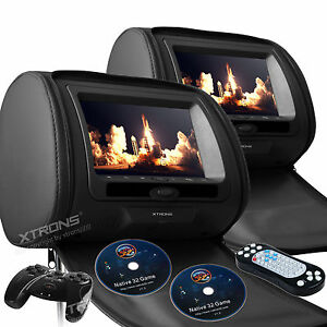 2X-7-034-HD-LCD-Car-Pillow-Headrest-Monitor-DVD-Player-Game-IR-USB-SD-Black-Leather