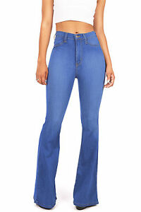 Womens Vintage High Waist Flared Bell Bottom Jeans Vibrant Light ...