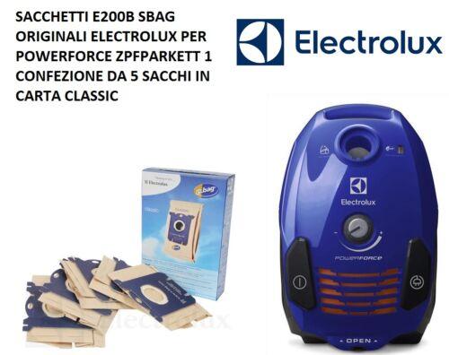 SACCHETTI ASPIRAPOLVERE ELECTROLUX SBAG E200B POWERFORCE ZPFPARKETT ORIGINALI