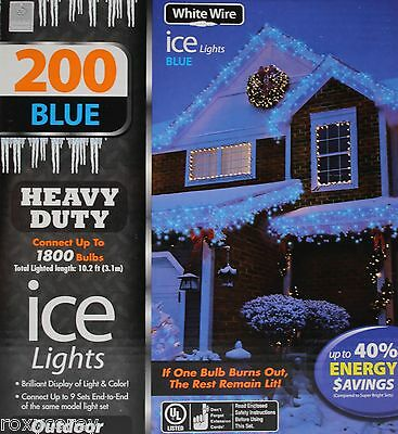 Holiday Seasons 200 Blue Color Heavy Duty Ice Lights White