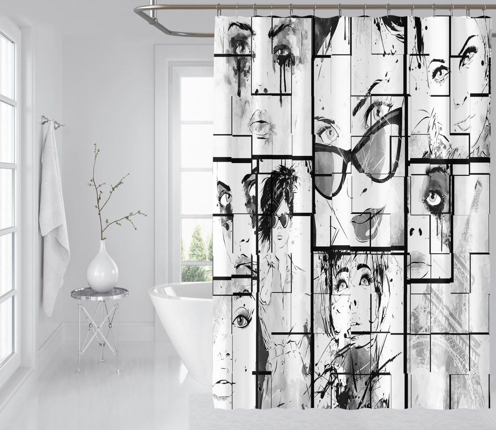 3D Comic Mädchen 3 Duschvorhang Wasserdicht Faser Bad Daheim Windows Toilette DE | Ausgezeichnetes Handwerk
