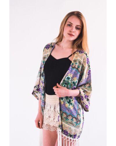 Lady Floral Print Cotton Fringed Kimono Kaftan Cardigan Holiday Beach Wear