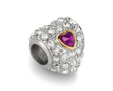 Stainless Steel Heart European Bead Gold Plated Charm w/ Amethyst & Rhinestones