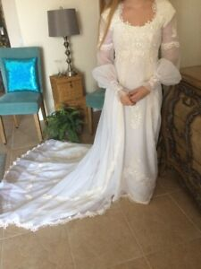 Image Is Loading Vintage 60 70s Wedding Dress With Train Lace