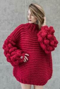 Womens-Handmade-Knitted-Pompom-Loose-Lantern-Sleeves-High-Neck-Sweater-HOT-A349