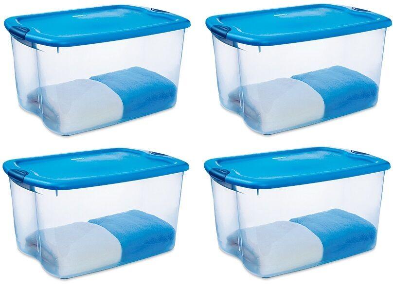 (4) Sterilite 18884404 66 Quart bluee Latched Storage   Organization Boxes