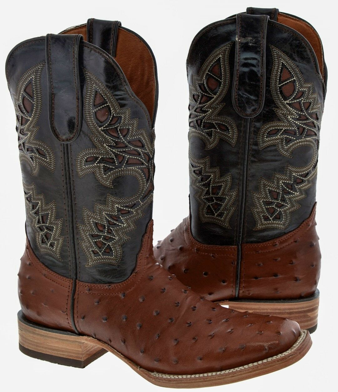 Uomo Cognac Broad Square Toe Ostrich Skin Cowboy Print Western Leather Cowboy Skin Boots 63888d