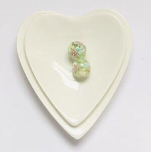 Stunning Pink Blue Green Flower Handmade Bead  13mm  2 pcs
