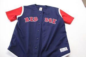 True-Fan-Stitched-Boston-Red-Sox-Thick-Baseball-Jersey-Shirt-Large-L