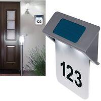 Solar Hausnummer LED beleuchtete Edelstahl/ Hausnummernleuchte Hausnummerleuchte