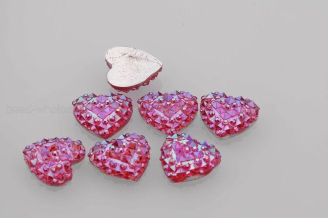 40PCS Resin Heart Flatback Scrapbooking for Phone/Wedding DIY Craft ,AB Color