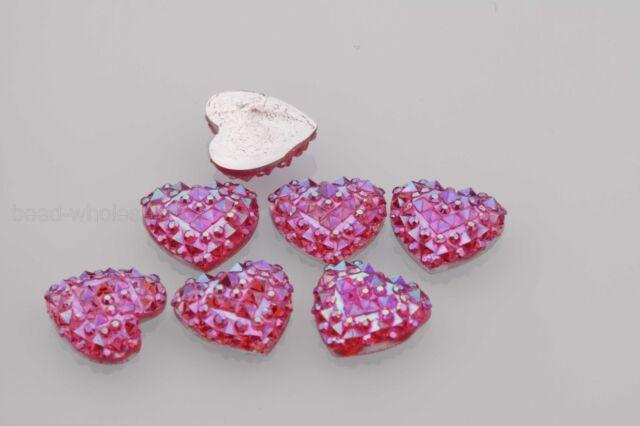 40PCS Resin Heart Flatback Scrapbooking for Phone/Wedding DIY Craft ,AB Color