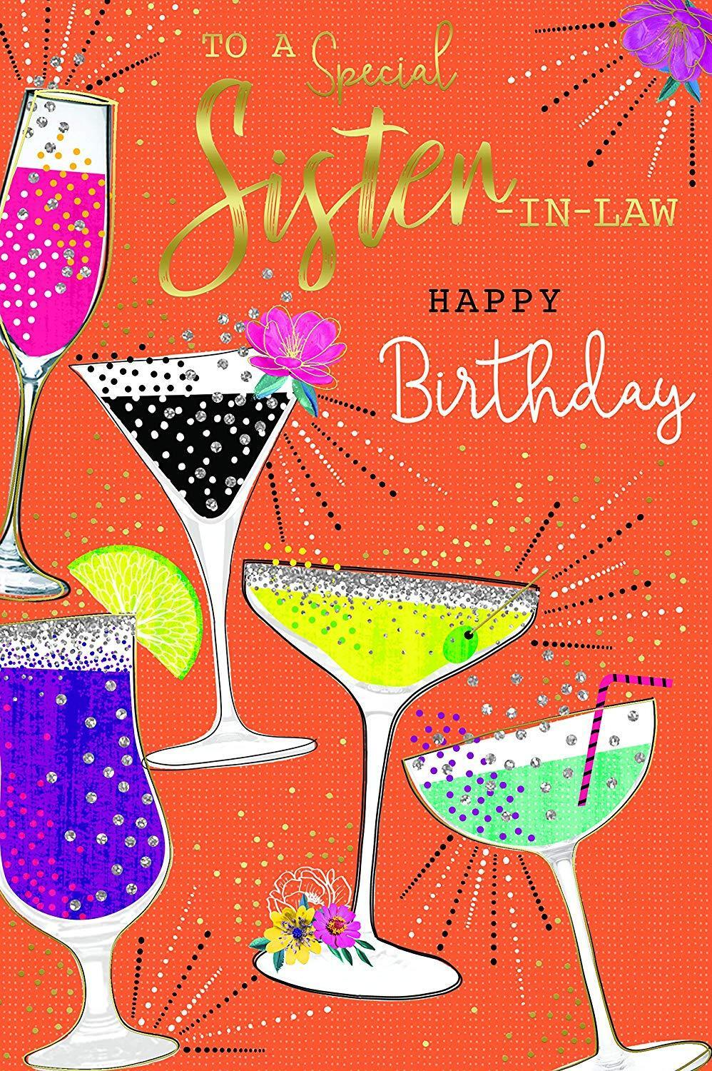 To A Special Sister In Law Happy Birthday Cocktails Design Kingfisher Cards For Sale Online Ebay