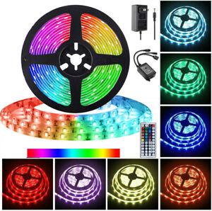 Multi-Color-1M-30M-LED-luz-de-tira-RGB-5050-SMD-44-Kit-Completo-de-alimentacion-remoto-clave-nos