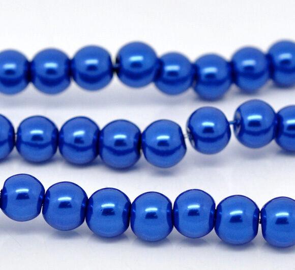 30 perles nacrées Renaissance 8 mm bleu foncé