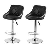 Retro Bar Stools Set 2 Black Leather Swivel Modern Chair Lounge Seat Breakfast