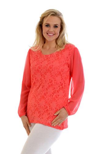 New Womens Lace Top Ladies Plus Size Chiffon Party Arm Floral Tunic Nouvelle