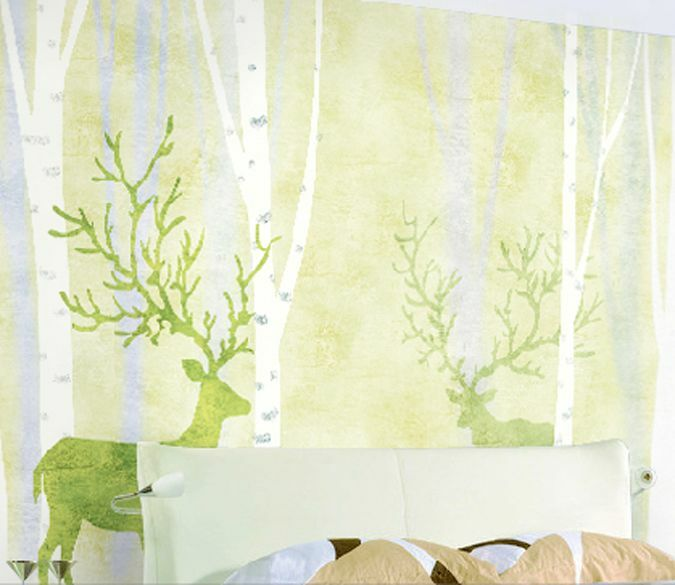 3D Grün Deer tree 4322 Paper Wall Print Decal Wall Wall Murals AJ WALLPAPER GB