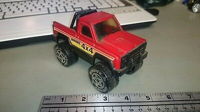 Metal and Plastic Vintage 1980s Buddy L 4x4 Red Pickup Truck with Light Bar