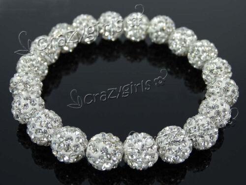 Lot Czech Crystal Rhinestones Pave Clay Round Disco Beads Stretchy Bracelet 10mm