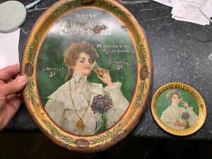 Original vintage 1906 dated Coca - Cola bottle tray & matching tip tray