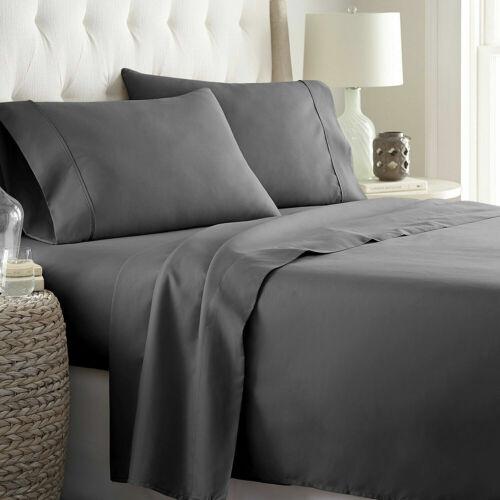 Percale Cotton Pillow Bed Sheet Set 4pc Dark Grey Ultra Soft 400 Tc Extra Deep