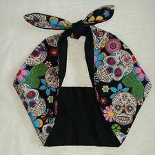 Sugar skull tattoo mexican skull pin up rockabilly,  bandana headband, hairband