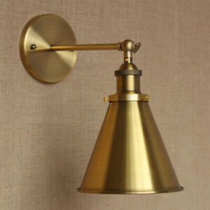 Vintage-Rustic-Brass-Wall-Lamp-Cone-Shade-Metal-LED-Light-Wall-Sconce-Fixture
