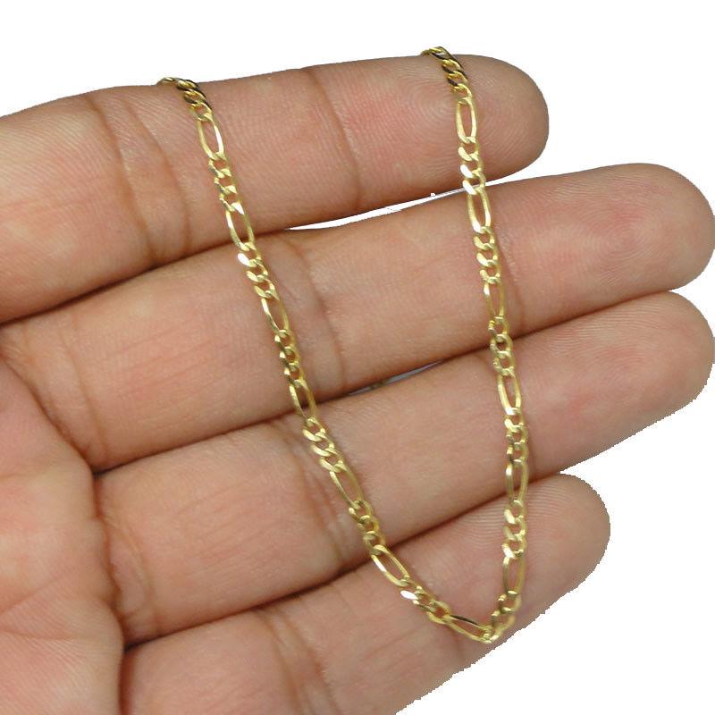 Uomo da Donna Sottile 2mm Solido Italiano 10k Vero oro oro oro Figaro Catenina Collana 2ce842