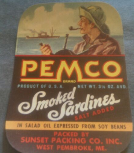 PEMCO SARDINE CAN LABEL 1930/'s ORIGINAL Trawler Ship Captain W PEMBROKE MAINE