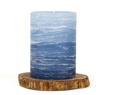 """Layered Pillar Candle 3x4/"""" Teal Unscented Nordic Candle"""