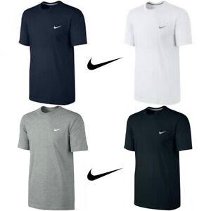 Homme-Neuf-Nike-T-Shirt-Gym-Coton-Sports-a-encolure-ras-du-cou-Swoosh-Logo-T-Shirts-S-M-L-XL