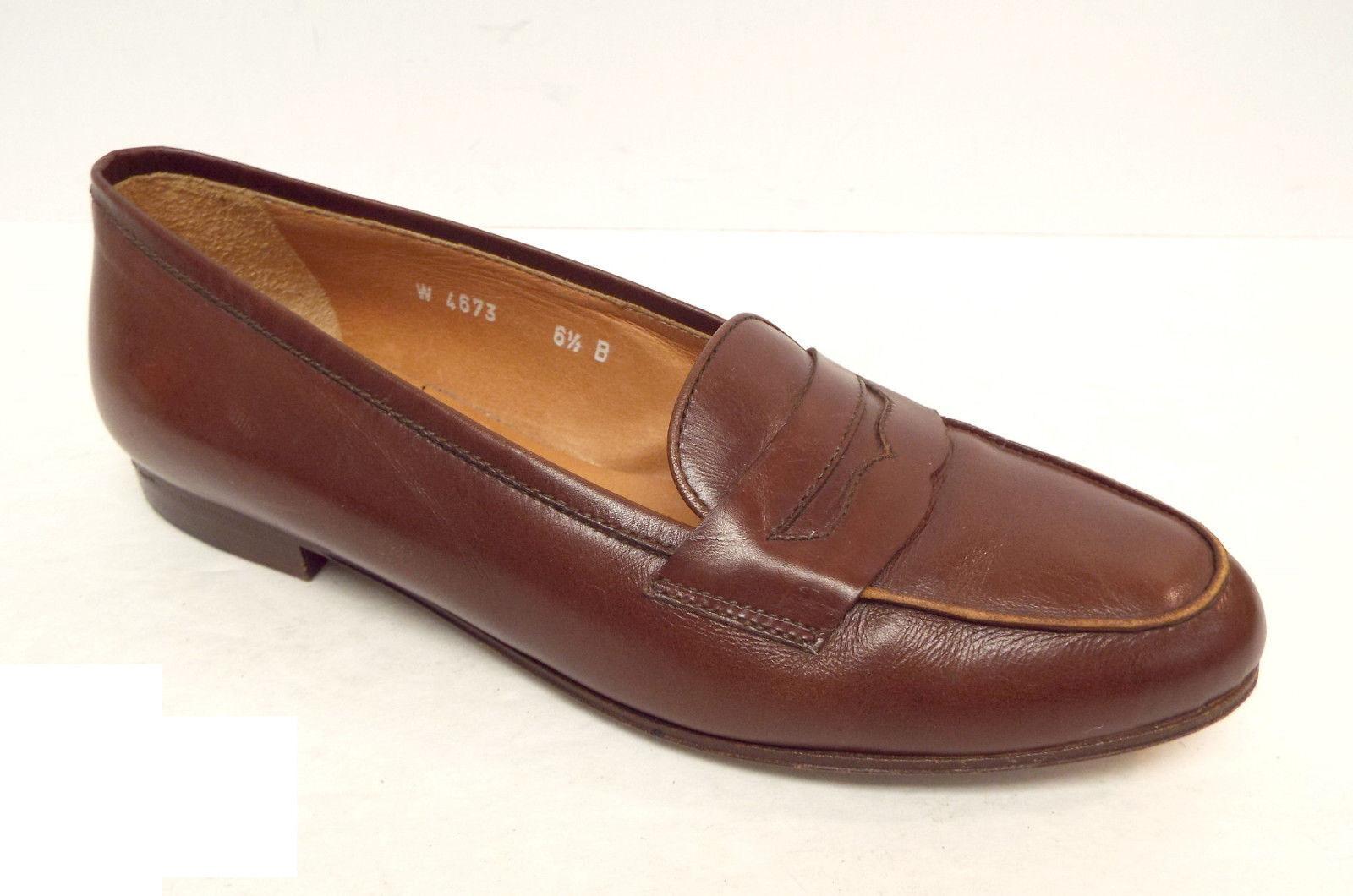 RALPH LAUREN Collection Größe 6.5 Braun Leder Penny Loafers Flats Schuhes 6 1/2