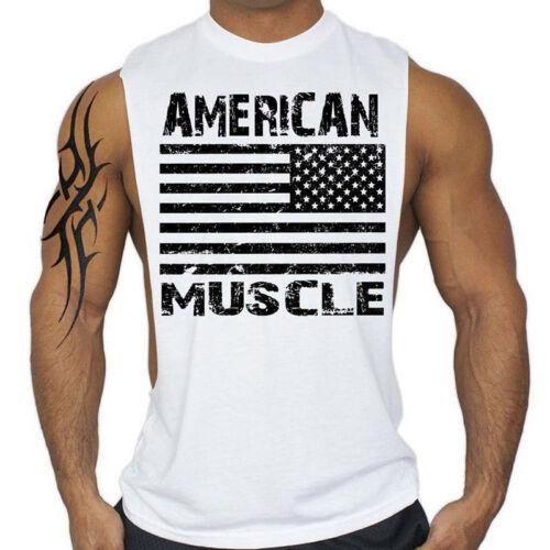 Bodybuilding Fitness Tank Top Men American Shirt Singlets Muscle Tee Cozy C0663