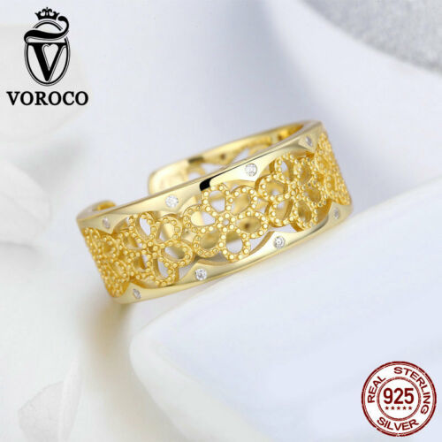 Voroco NOUVEAU Argent Sterling 925 Dentelle Plaqué Or Anneau Charme Zircone cubique Femme Bijoux