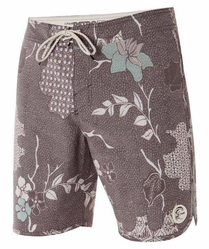 O'Neill SANTA CRUZ ORIGINAL SCALLOP Mens Boardshorts Size 32 Dark Brown NEW