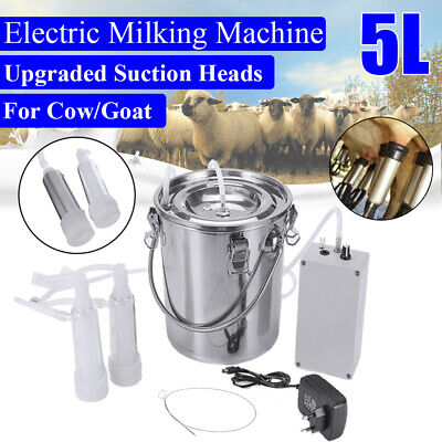 5L Dual Heads Electric Milking Machine Stainless Vacuum Pump Cow Goat Milker New