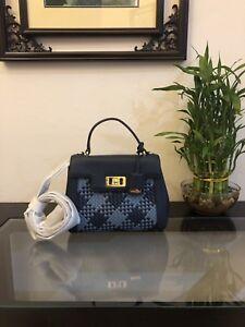 b15e2f19f86a NWT Michael Kors KARSON Mini TH Satchel Leather Bag In denim navy